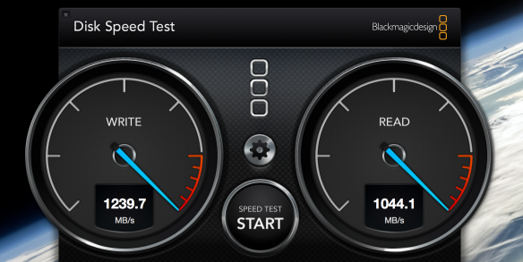 This shows the raw speed of LaCie's Little Big Disk 2, here showing performance  over 1 GB per second when paired  with a 2nd Gen Retina MacBook Pro with Intel's Thunderbolt 2 technology.